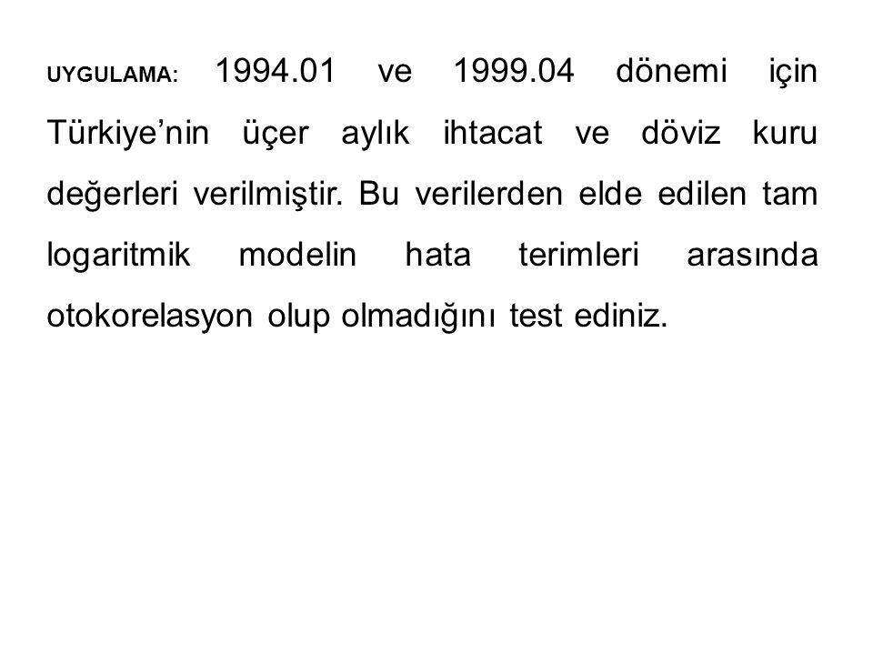  TEST AŞAMALARI 1.Aşama H 0 : Dördüncü dereceden otokorelasyon yoktur.