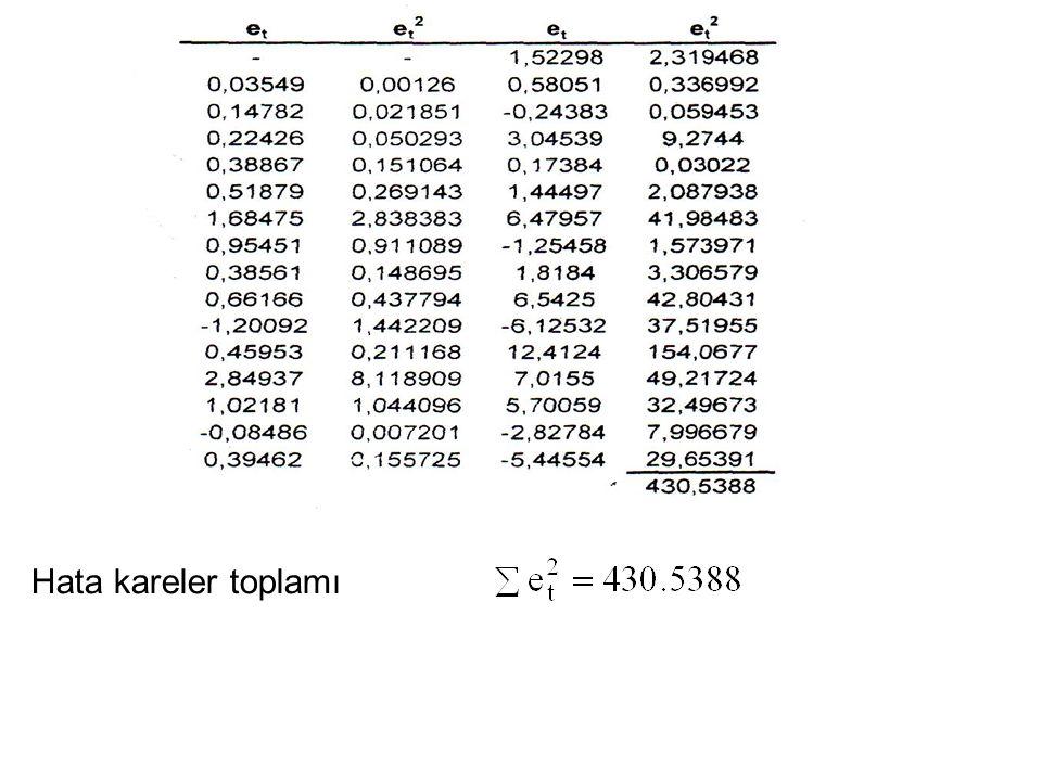 Bu denklemden elde edilen hata kareler toplamı Bu modele ilk farklar uygulandığında