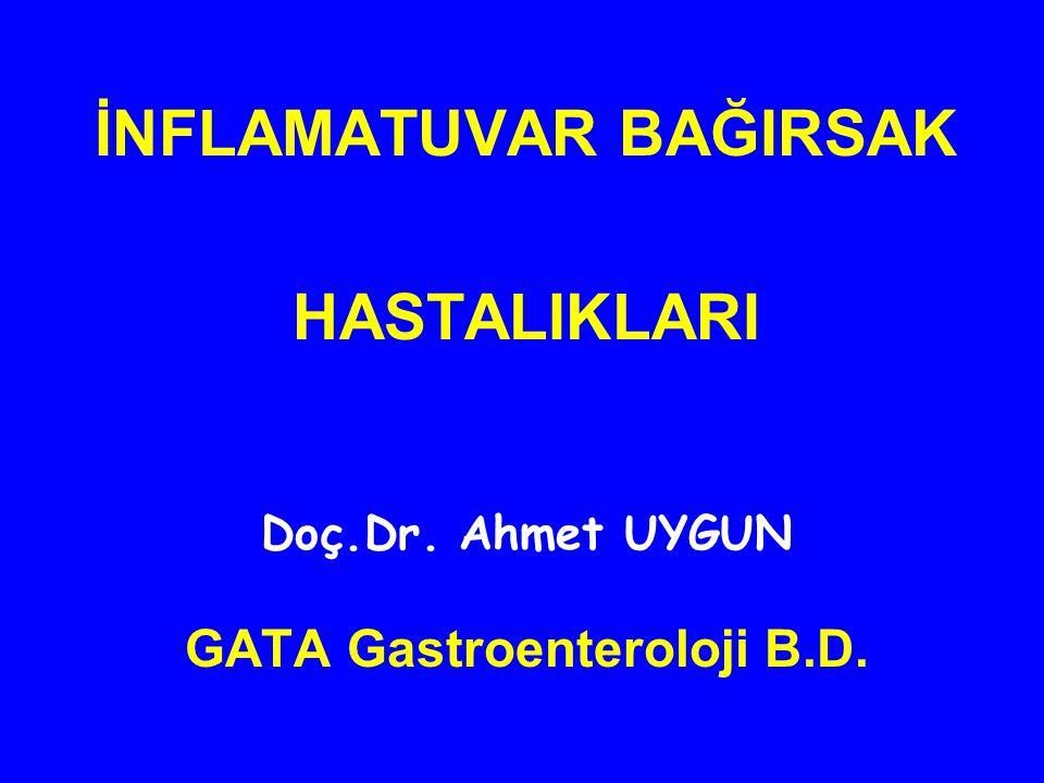 4-Karın Ağrısı / Kramp Varlığı : Yokluğu0 Hafif1 Orta2 Şiddetli3 5- Kolitle Birlikte Ateş Varlığı : 37-38 °C0 > 38 °C3 6- Ekstra İntestinal Bulguların Varlığı : İritis3 Erythema Nodosum3 Arthritis3 7-Labroratuvar Bulguları : Sedimantasyon Hızı > 50 mm / h1 Sedimantasyon Hızı > 100 mm / h2 Hemoglobin < 10 g/ 14 Skor 4'e eşit yada altında ise remisyondadır.