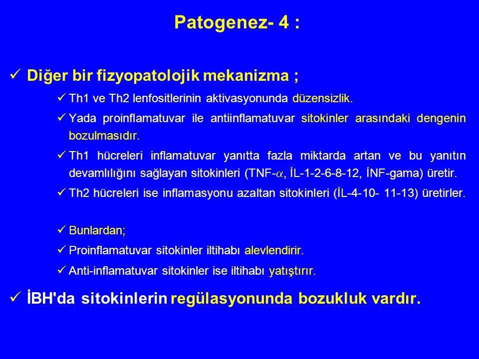 Patogenez- 4 : Diğer bir fizyopatolojik mekanizma ; Th1 ve Th2 lenfositlerinin aktivasyonunda düzensizlik. Yada proinflamatuvar ile antiinflamatuvar s