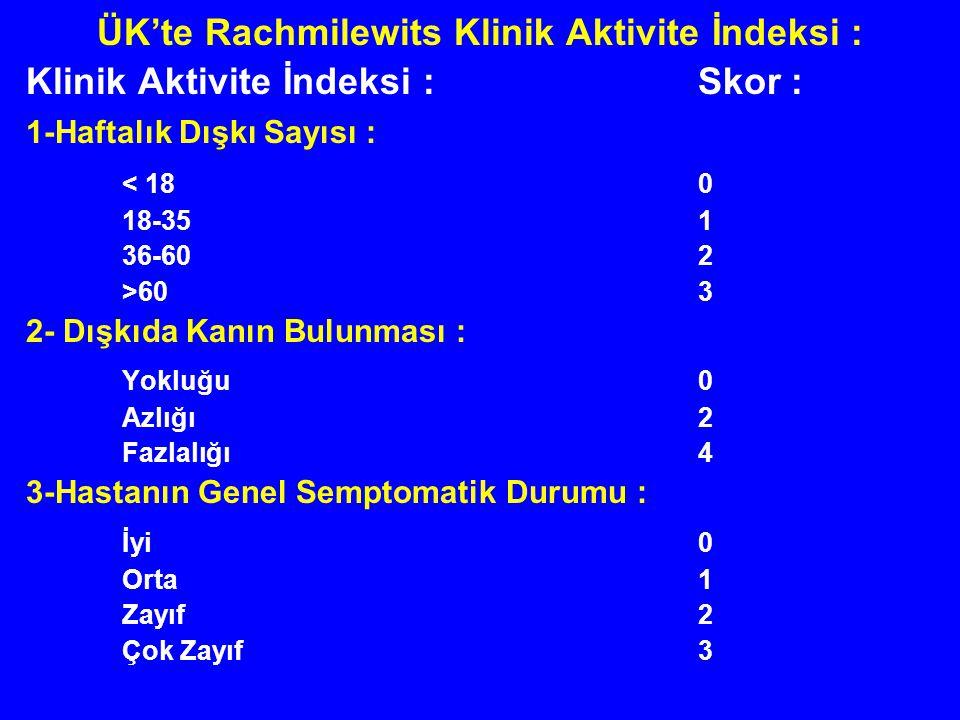 ÜK'te Rachmilewits Klinik Aktivite İndeksi : Klinik Aktivite İndeksi :Skor : 1-Haftalık Dışkı Sayısı : < 180 18-351 36-602 >603 2- Dışkıda Kanın Bulun