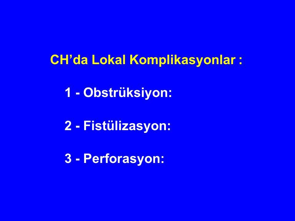 CH'da Lokal Komplikasyonlar : 1 - Obstrüksiyon: 2 - Fistülizasyon: 3 - Perforasyon: