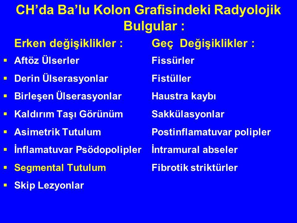 CH'da Ba'lu Kolon Grafisindeki Radyolojik Bulgular : Erken değişiklikler :Geç Değişiklikler :  Aftöz ÜlserlerFissürler  Derin ÜlserasyonlarFistüller