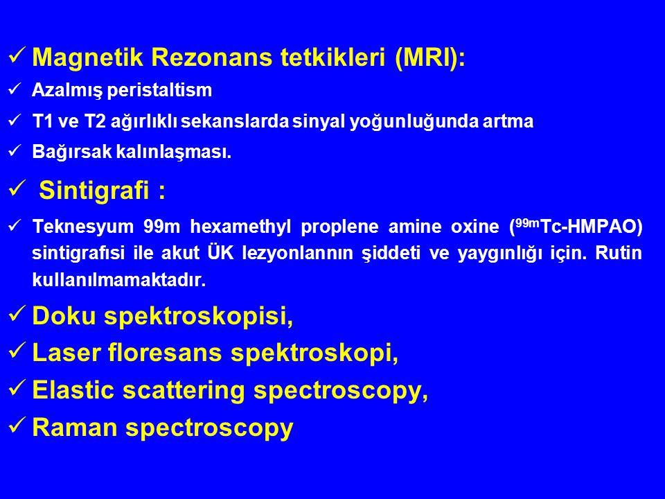 Magnetik Rezonans tetkikleri (MRI): Azalmış peristaltism T1 ve T2 ağırlıklı sekanslarda sinyal yoğunluğunda artma Bağırsak kalınlaşması. Sintigrafi :