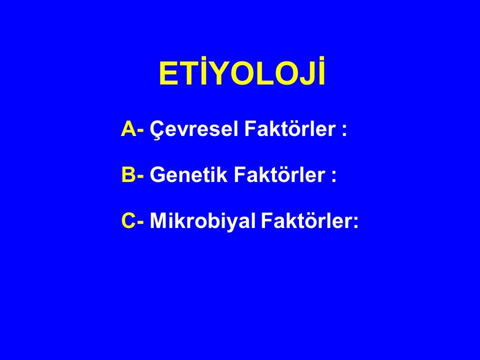 A- Hazırlayıcı Nedenler Olarak Çevresel Faktörler : 1-Sigara 2-Apendektomi 3-Oral kontraseptivler 4-Diyet a-Rafine şeker b-Yağ asitleri c-Lifli Gıdalar d-Kahve ve Alkol e-Fast Food tipi hazır beslenme f-Tahıl ve Hububatlar g-Diş Macunu 5-Anne sütü ile beslenme 6-Yüksek hijyen seviyesi 7-Yüksek Sosyoekonomik Seviye 8-NSAİİ'lar 9-Mevsimsel Değişiklikler 10-Solak Olma 11-Stres 12- İntestinal Permeabilite