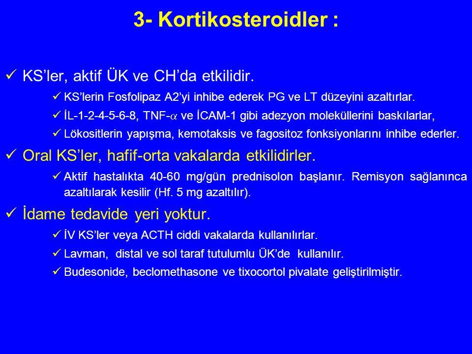 3- Kortikosteroidler : KS'ler, aktif ÜK ve CH'da etkilidir. KS'lerin Fosfolipaz A2'yi inhibe ederek PG ve LT düzeyini azaltırlar. İL-1-2-4-5-6-8, TNF-