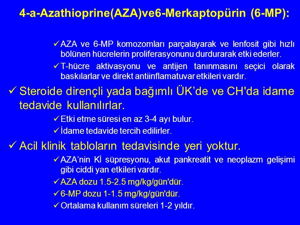 4-a-Azathioprine(AZA)ve6-Merkaptopürin (6-MP): AZA ve 6-MP komozomları parçalayarak ve lenfosit gibi hızlı bölünen hücrelerin proliferasyonunu durdura