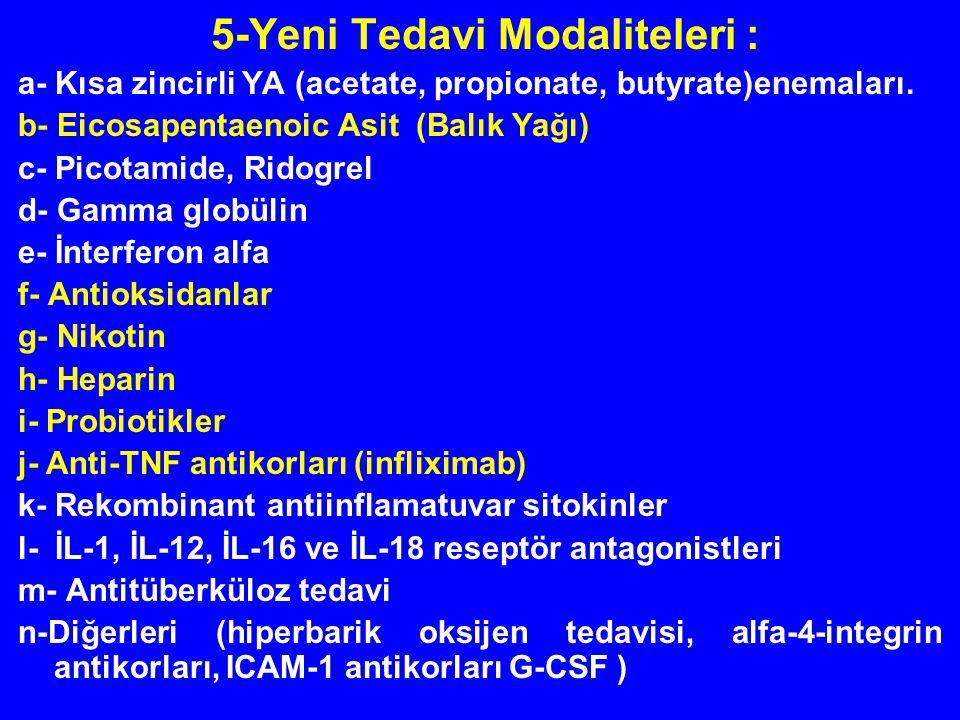 5-Yeni Tedavi Modaliteleri : a- Kısa zincirli YA (acetate, propionate, butyrate)enemaları. b- Eicosapentaenoic Asit (Balık Yağı) c- Picotamide, Ridogr