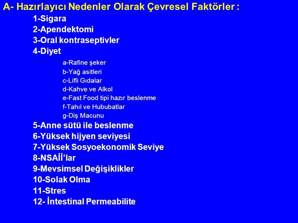 II- Spesifik Tedavi : 1- Sülfasalazin : 2- 5-ASA Preparatları: 3- Kortikosteroidler : 4- İmmünmodülatörler : a- Azathioprine (AZA) ve 6-Merkaptopürin (6-MP) : b- Methotrexate (MTX): c- Cyclosporine (CyC) : d- FK 506 (Tacrolimus) Fusidic Asit, Rapamicine: 5-Yeni Tedavi Modaliteleri :