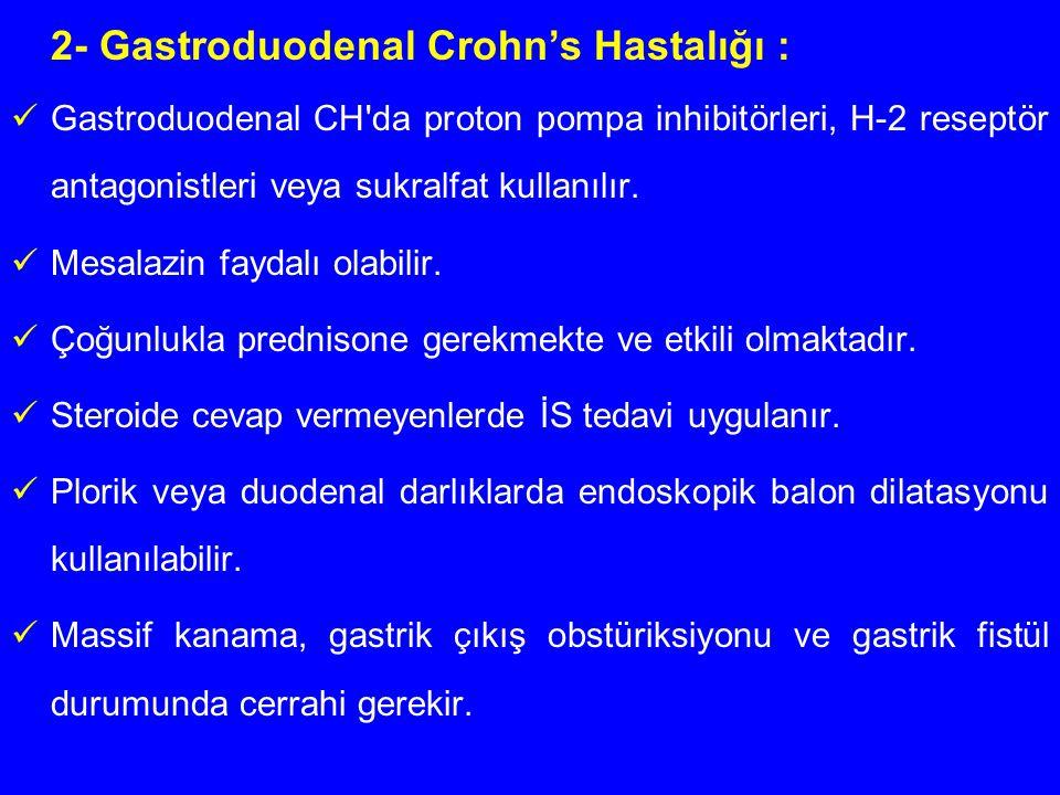 2- Gastroduodenal Crohn's Hastalığı : Gastroduodenal CH'da proton pompa inhibitörleri, H-2 reseptör antagonistleri veya sukralfat kullanılır. Mesalazi