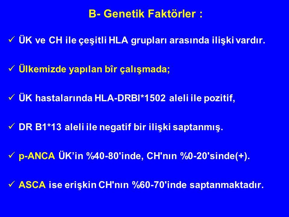 B- Genetik Faktörler : ÜK ve CH ile çeşitli HLA grupları arasında ilişki vardır. Ülkemizde yapılan bîr çalışmada; ÜK hastalarında HLA-DRBl*1502 aleli