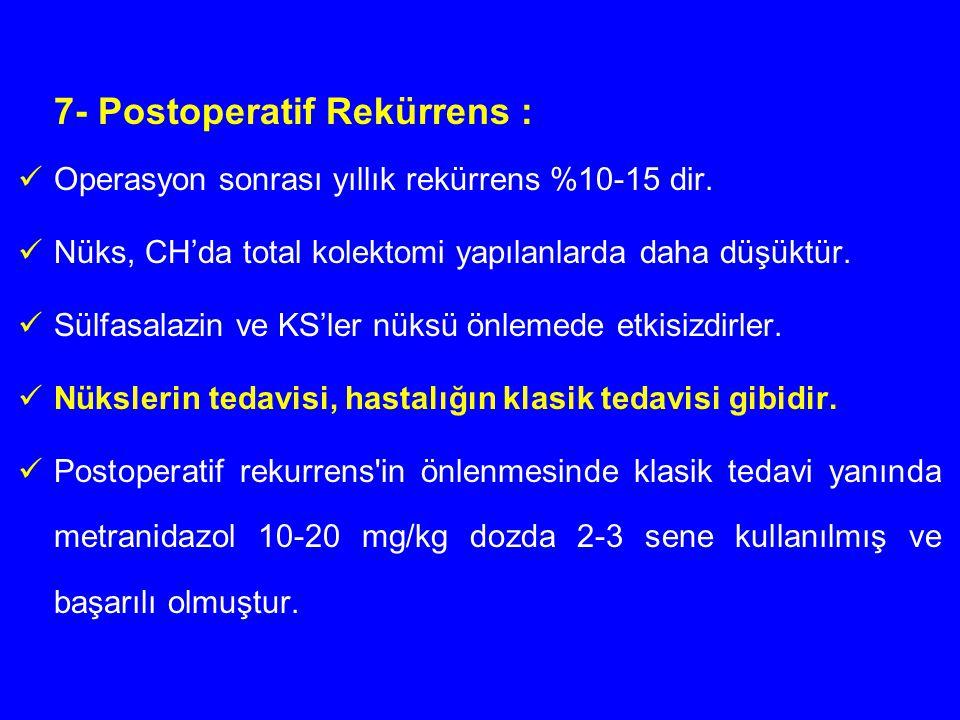 7- Postoperatif Rekürrens : Operasyon sonrası yıllık rekürrens %10-15 dir. Nüks, CH'da total kolektomi yapılanlarda daha düşüktür. Sülfasalazin ve KS'