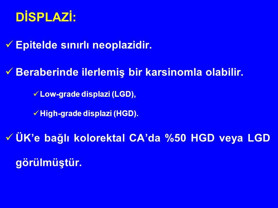 DİSPLAZİ: Epitelde sınırlı neoplazidir. Beraberinde ilerlemiş bir karsinomla olabilir. Low-grade displazi (LGD), High-grade displazi (HGD). ÜK'e bağlı