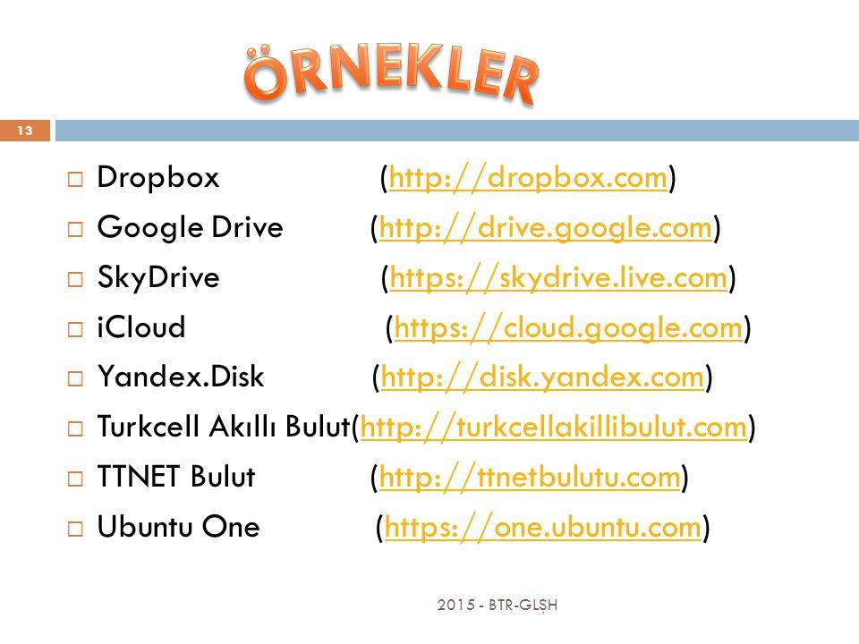 2015 - BTR-GLŞH 13  Dropbox (http://dropbox.com)http://dropbox.com  Google Drive (http://drive.google.com)http://drive.google.com  SkyDrive (https://skydrive.live.com)https://skydrive.live.com  iCloud (https://cloud.google.com)https://cloud.google.com  Yandex.Disk (http://disk.yandex.com)http://disk.yandex.com  Turkcell Akıllı Bulut(http://turkcellakillibulut.com)http://turkcellakillibulut.com  TTNET Bulut (http://ttnetbulutu.com)http://ttnetbulutu.com  Ubuntu One (https://one.ubuntu.com)https://one.ubuntu.com