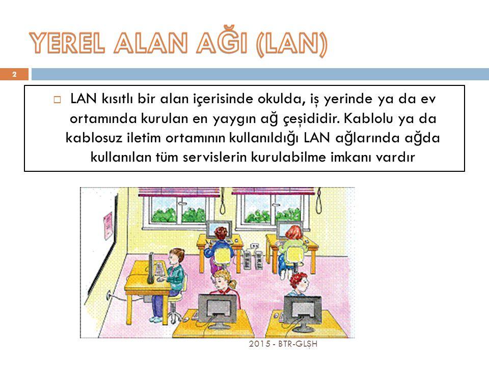 2015 - BTR-GLŞH 2  LAN kısıtlı bir alan içerisinde okulda, iş yerinde ya da ev ortamında kurulan en yaygın a ğ çeşididir.