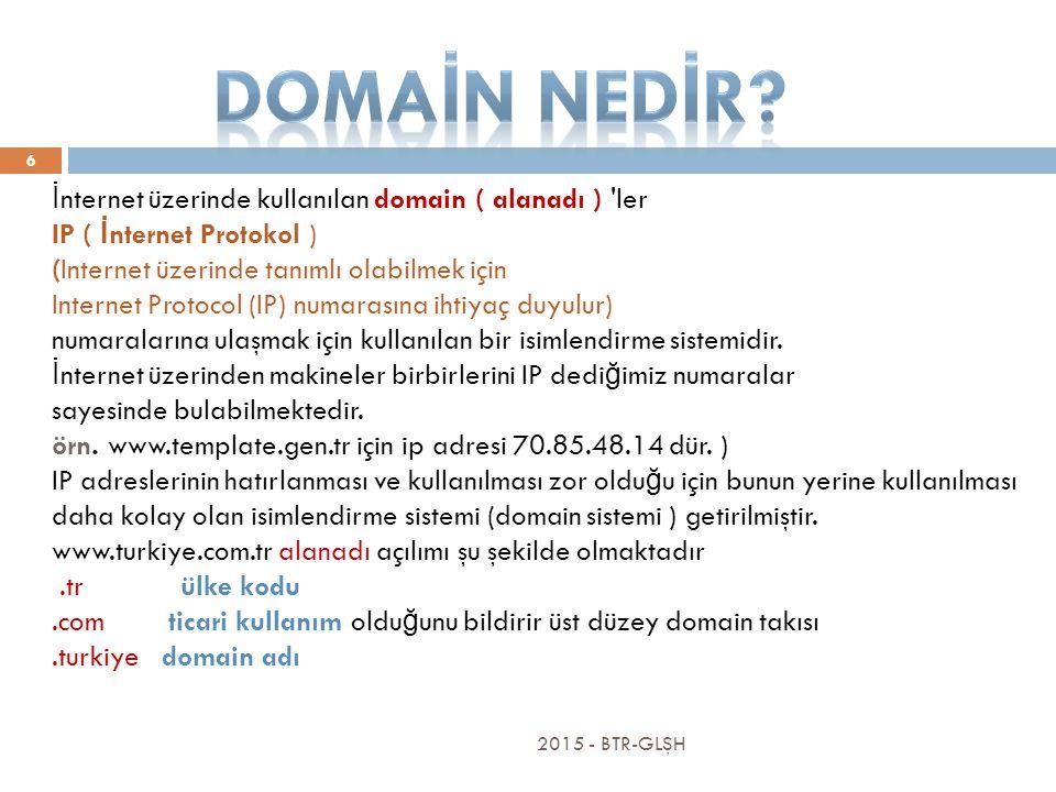 İ nternet üzerinde kullanılan domain ( alanadı ) ler IP ( İ nternet Protokol ) (Internet üzerinde tanımlı olabilmek için Internet Protocol (IP) numarasına ihtiyaç duyulur) numaralarına ulaşmak için kullanılan bir isimlendirme sistemidir.