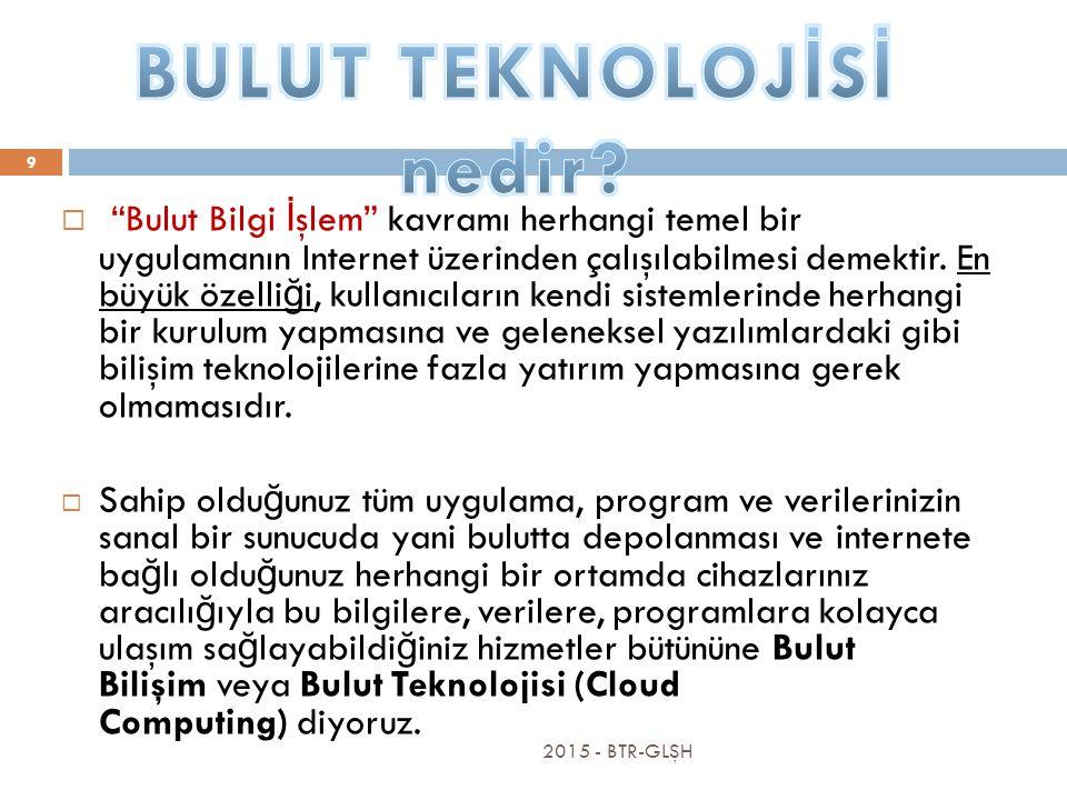 2015 - BTR-GLŞH 9  Bulut Bilgi İ şlem kavramı herhangi temel bir uygulamanın Internet üzerinden çalışılabilmesi demektir.