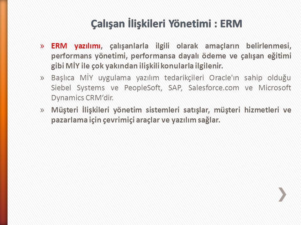 » ERM yazılımı, çalışanlarla ilgili olarak amaçların belirlenmesi, performans yönetimi, performansa dayalı ödeme ve çalışan eğitimi gibi MİY ile çok yakından ilişkili konularla ilgilenir.