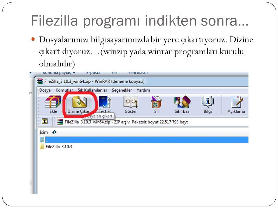 Filezilla programı indikten sonra… Dosyalarımızı bilgisayarımızda bir yere çıkartıyoruz.