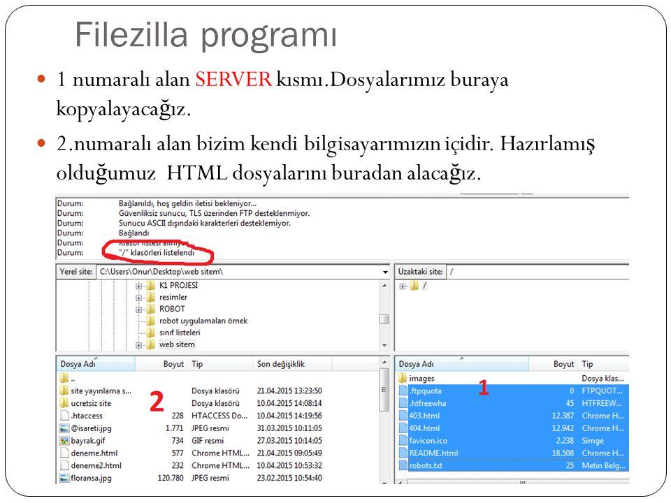 Filezilla programı 1 numaralı alan SERVER kısmı.Dosyalarımız buraya kopyalayaca ğ ız.