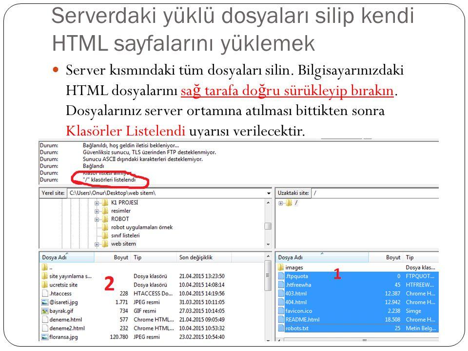 Serverdaki yüklü dosyaları silip kendi HTML sayfalarını yüklemek Server kısmındaki tüm dosyaları silin.