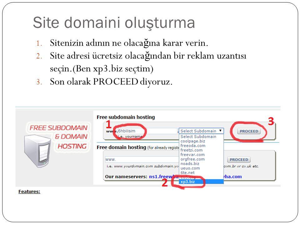 WEB SİTESİ OLUŞTURMA Bu sistem ücretsiz oldu ğ undan 1 yıl boyunca kullanılabilir.