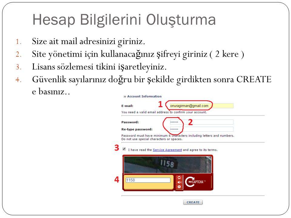 Web sitesi ÖNEMLİ BİLGİLERİ (Saklayınız) 1.Web sitenizin adresidir.