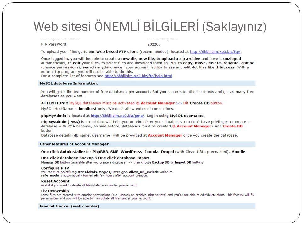Web sitesi ÖNEMLİ BİLGİLERİ (Saklayınız)