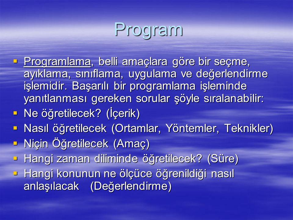 Program Program  Programlama, belli amaçlara göre bir seçme, ayıklama, sınıflama, uygulama ve değerlendirme işlemidir. Başarılı bir programlama işlem