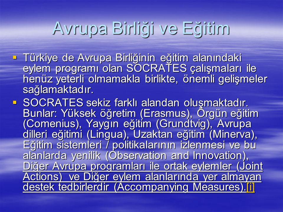 Avrupa Birliği ve Eğitim  Türkiye de Avrupa Birliğinin eğitim alanındaki eylem programı olan SOCRATES çalışmaları ile henüz yeterli olmamakla birlikt