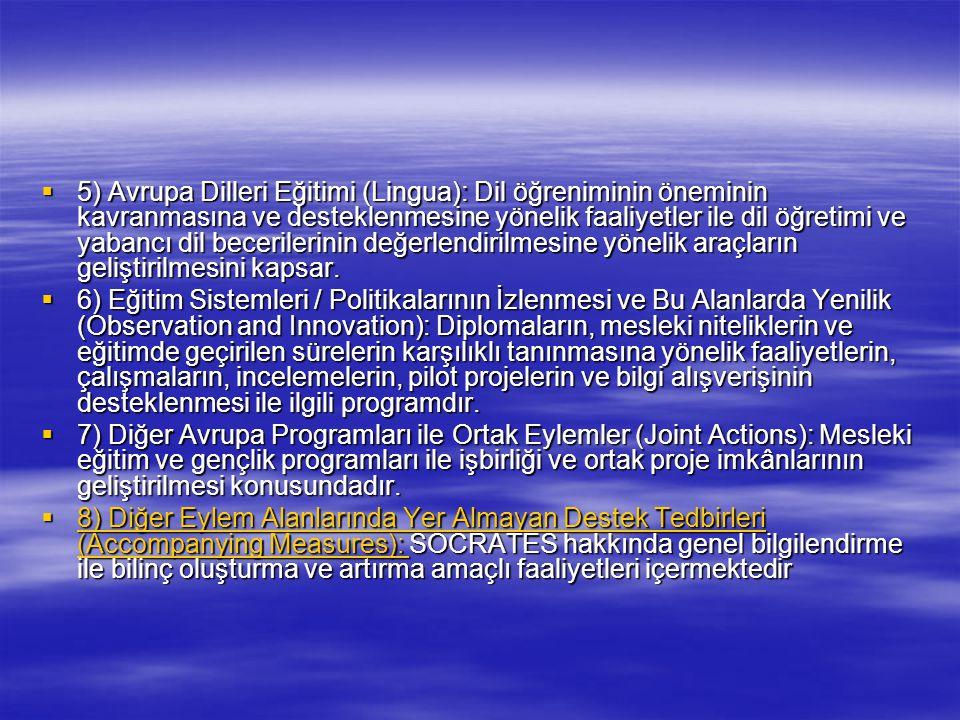  5) Avrupa Dilleri Eğitimi (Lingua): Dil öğreniminin öneminin kavranmasına ve desteklenmesine yönelik faaliyetler ile dil öğretimi ve yabancı dil bec