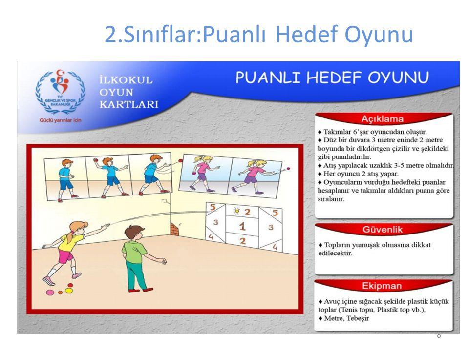 8 2.Sınıflar:Puanlı Hedef Oyunu Oyuncu sayısı:10 (5 Kız-5 Erkek) (1Kız -1 Erkek yedek oyuncu) Kullanılacak malzemeler: Tenis topu 3m eninde 2 m boyund