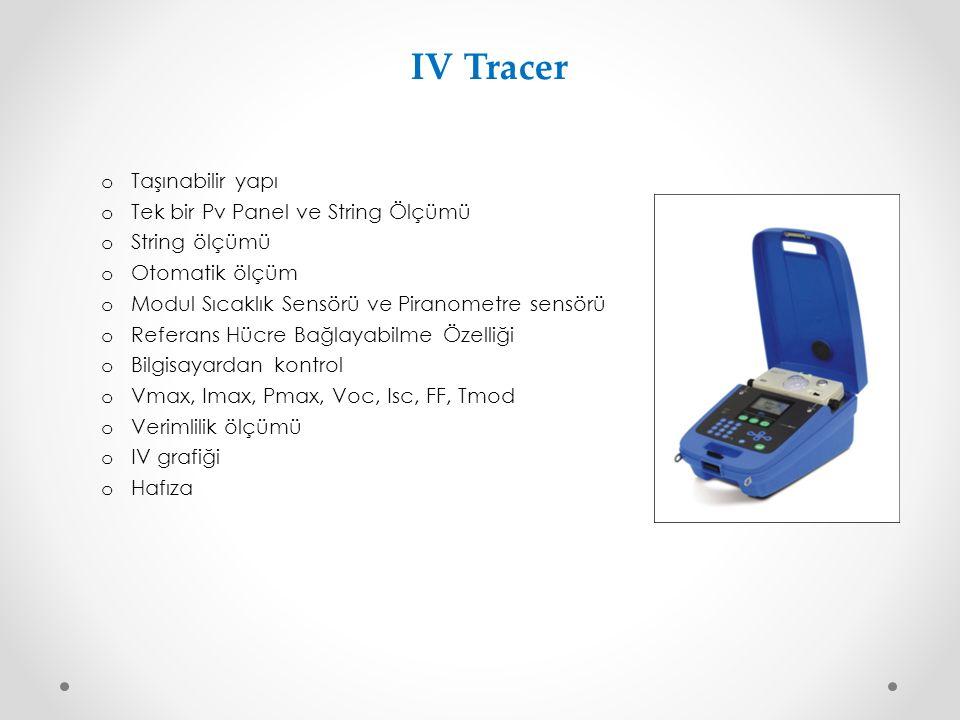 IV Tracer o Taşınabilir yapı o Tek bir Pv Panel ve String Ölçümü o String ölçümü o Otomatik ölçüm o Modul Sıcaklık Sensörü ve Piranometre sensörü o Re