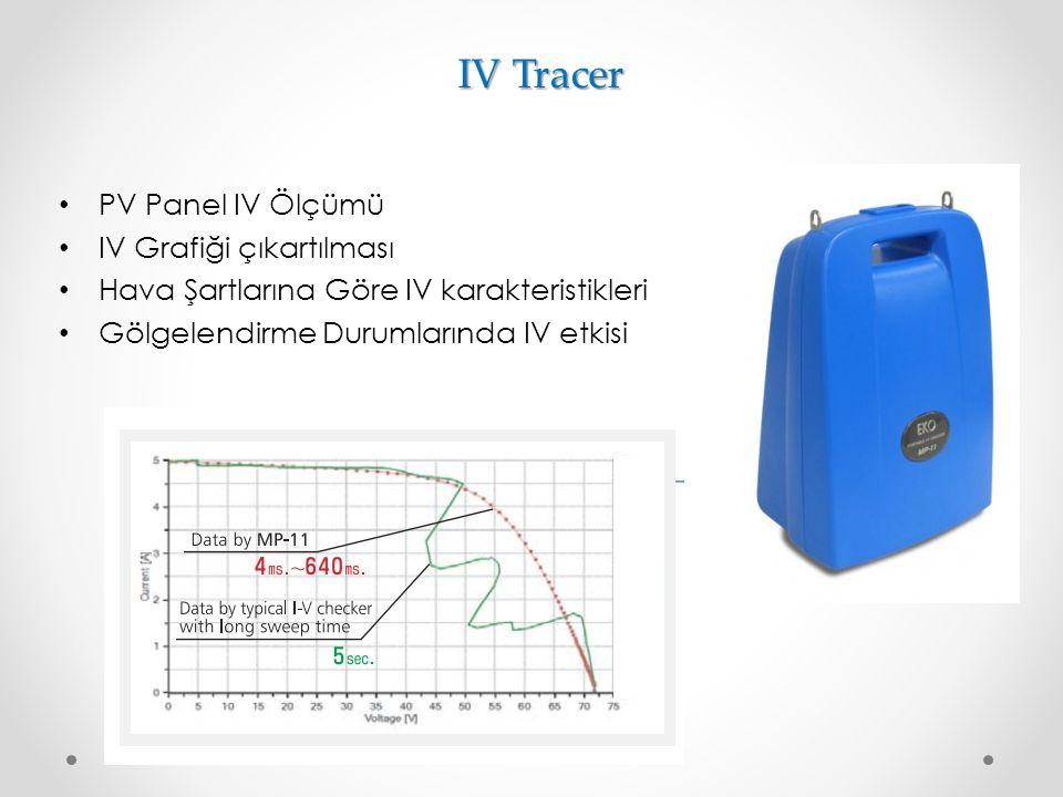 IV Tracer PV Panel IV Ölçümü IV Grafiği çıkartılması Hava Şartlarına Göre IV karakteristikleri Gölgelendirme Durumlarında IV etkisi