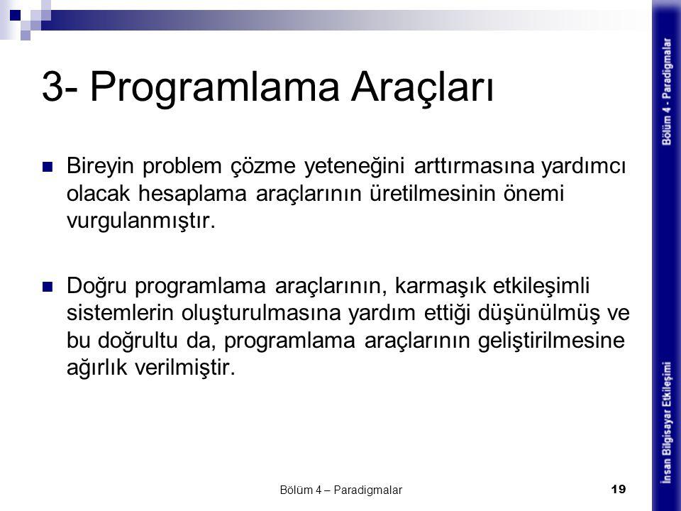 3- Programlama Araçları Bireyin problem çözme yeteneğini arttırmasına yardımcı olacak hesaplama araçlarının üretilmesinin önemi vurgulanmıştır. Doğru