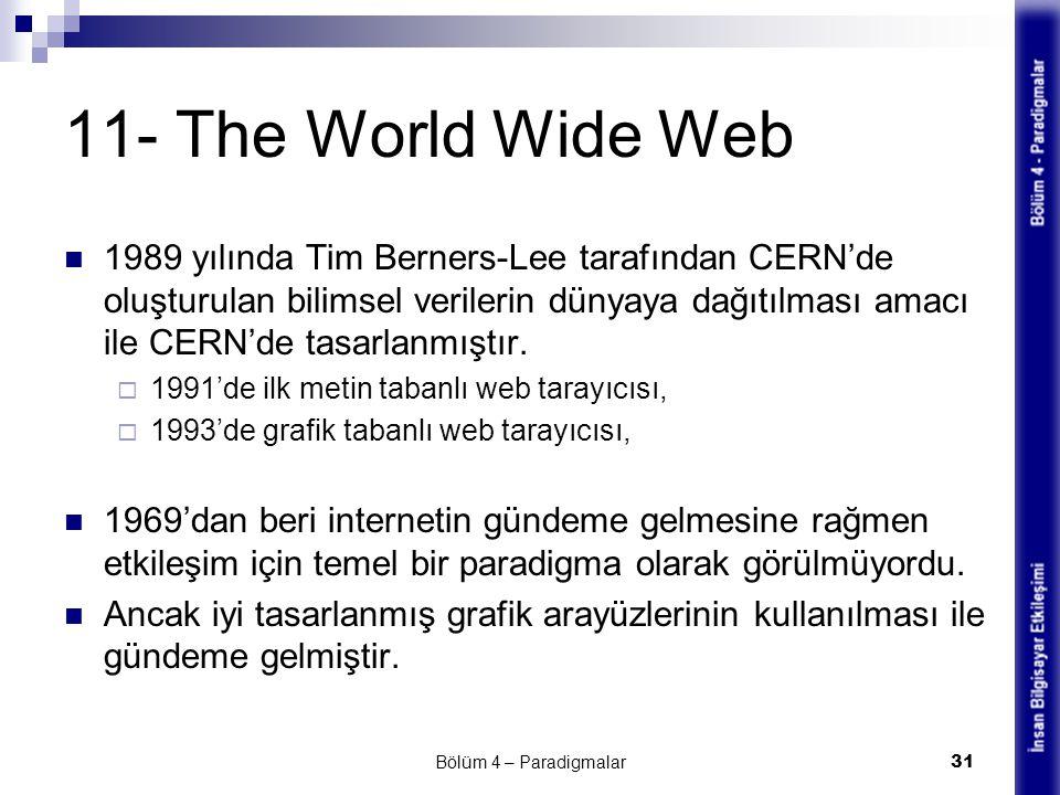 11- The World Wide Web 1989 yılında Tim Berners-Lee tarafından CERN'de oluşturulan bilimsel verilerin dünyaya dağıtılması amacı ile CERN'de tasarlanmı