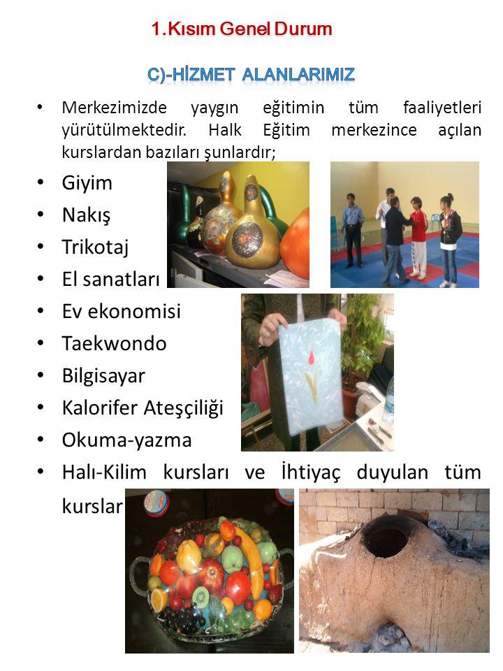 Merkezimizde yaygın eğitimin tüm faaliyetleri yürütülmektedir. Halk Eğitim merkezince açılan kurslardan bazıları şunlardır; Giyim Nakış Trikotaj El sa
