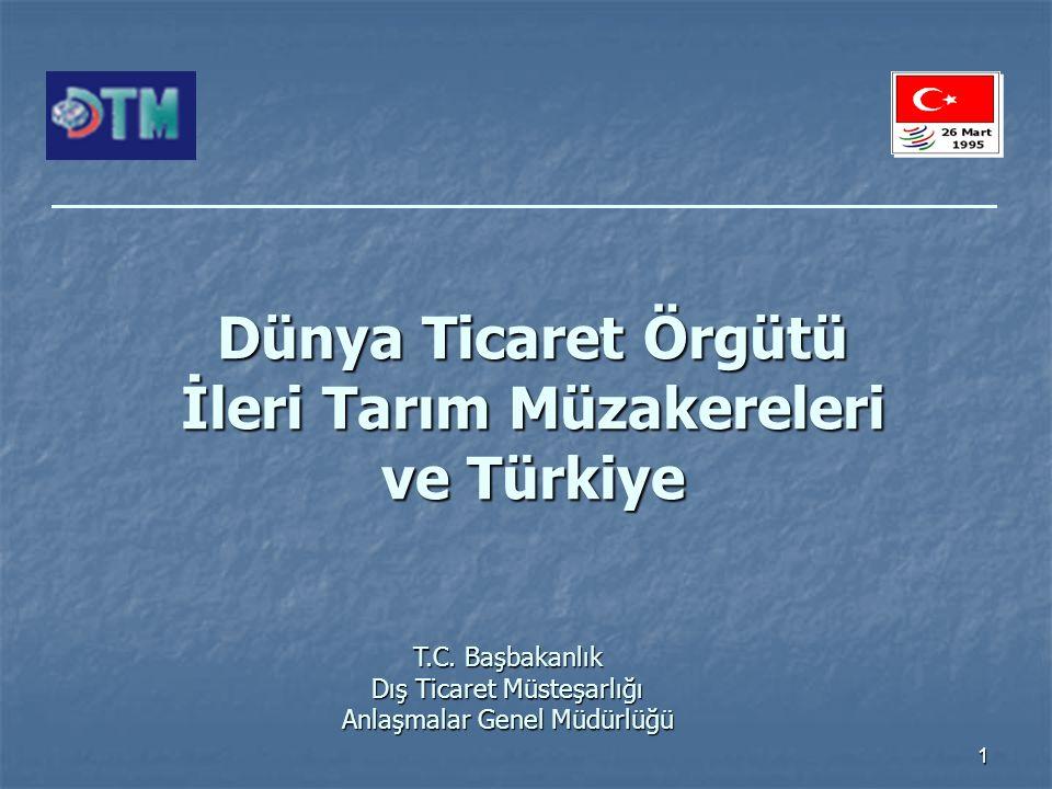 1 Dünya Ticaret Örgütü İleri Tarım Müzakereleri ve Türkiye T.C.