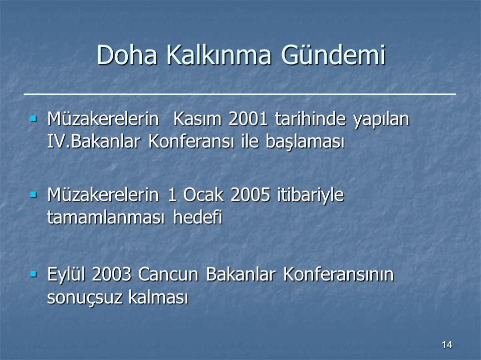14 Doha Kalkınma Gündemi  Müzakerelerin Kasım 2001 tarihinde yapılan IV.Bakanlar Konferansı ile başlaması  Müzakerelerin 1 Ocak 2005 itibariyle tamamlanması hedefi  Eylül 2003 Cancun Bakanlar Konferansının sonuçsuz kalması