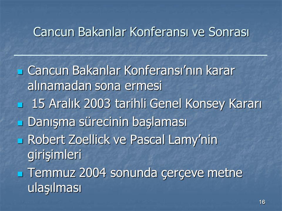 16 Cancun Bakanlar Konferansı ve Sonrası Cancun Bakanlar Konferansı'nın karar alınamadan sona ermesi Cancun Bakanlar Konferansı'nın karar alınamadan sona ermesi 15 Aralık 2003 tarihli Genel Konsey Kararı 15 Aralık 2003 tarihli Genel Konsey Kararı Danışma sürecinin başlaması Danışma sürecinin başlaması Robert Zoellick ve Pascal Lamy'nin girişimleri Robert Zoellick ve Pascal Lamy'nin girişimleri Temmuz 2004 sonunda çerçeve metne ulaşılması Temmuz 2004 sonunda çerçeve metne ulaşılması