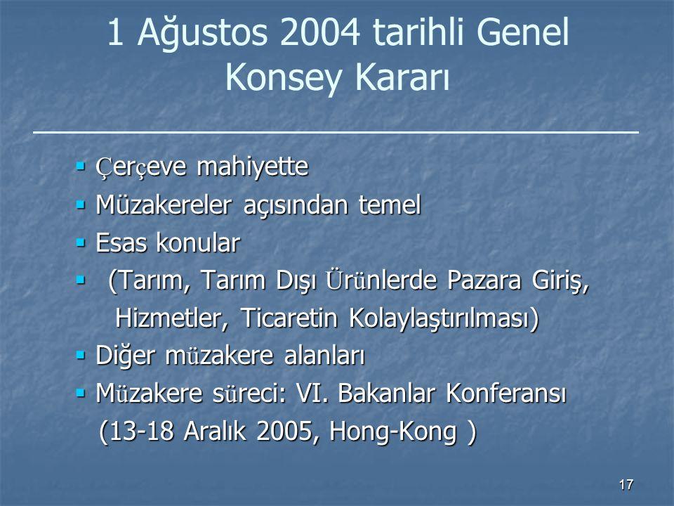17 1 Ağustos 2004 tarihli Genel Konsey Kararı  Ç er ç eve mahiyette  Müzakereler açısından temel  Esas konular  (Tarım, Tarım Dışı Ü r ü nlerde Pazara Giriş, Hizmetler, Ticaretin Kolaylaştırılması) Hizmetler, Ticaretin Kolaylaştırılması)  Diğer m ü zakere alanları  M ü zakere s ü reci: VI.