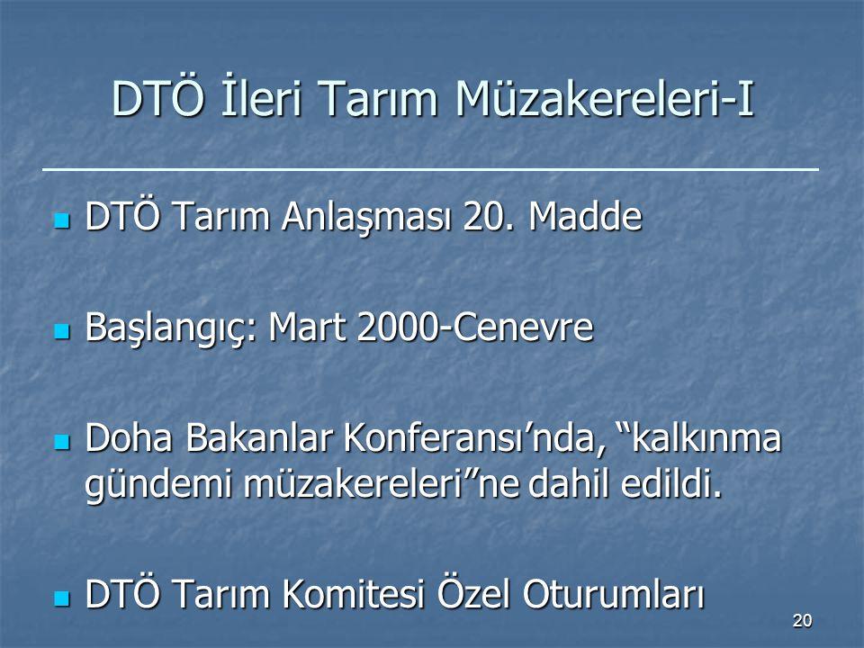 20 DTÖ İleri Tarım Müzakereleri-I DTÖ Tarım Anlaşması 20.