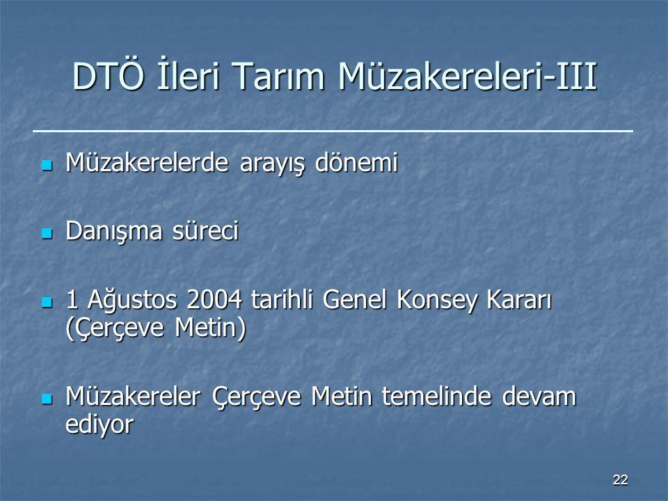 22 DTÖ İleri Tarım Müzakereleri-III Müzakerelerde arayış dönemi Müzakerelerde arayış dönemi Danışma süreci Danışma süreci 1 Ağustos 2004 tarihli Genel Konsey Kararı (Çerçeve Metin) 1 Ağustos 2004 tarihli Genel Konsey Kararı (Çerçeve Metin) Müzakereler Çerçeve Metin temelinde devam ediyor Müzakereler Çerçeve Metin temelinde devam ediyor