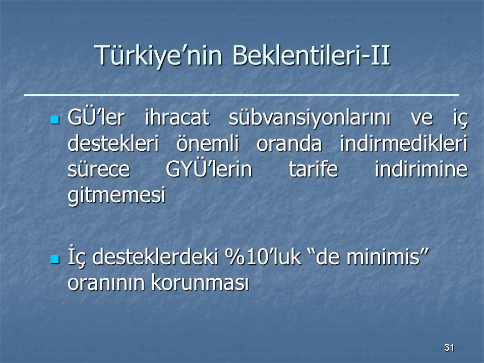 31 Türkiye'nin Beklentileri-II GÜ'ler ihracat sübvansiyonlarını ve iç destekleri önemli oranda indirmedikleri sürece GYÜ'lerin tarife indirimine gitmemesi GÜ'ler ihracat sübvansiyonlarını ve iç destekleri önemli oranda indirmedikleri sürece GYÜ'lerin tarife indirimine gitmemesi İç desteklerdeki %10'luk de minimis oranının korunması İç desteklerdeki %10'luk de minimis oranının korunması