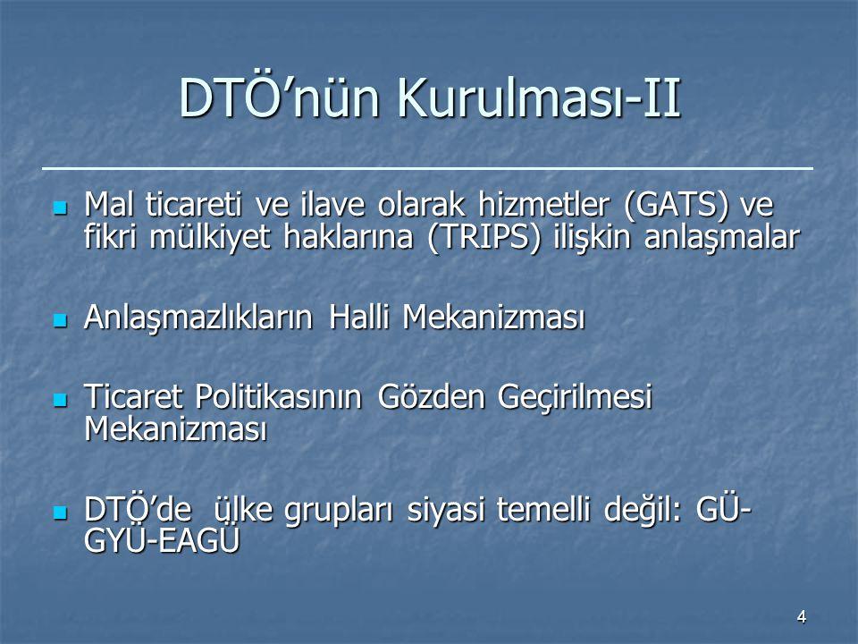 4 DTÖ'nün Kurulması-II Mal ticareti ve ilave olarak hizmetler (GATS) ve fikri mülkiyet haklarına (TRIPS) ilişkin anlaşmalar Mal ticareti ve ilave olarak hizmetler (GATS) ve fikri mülkiyet haklarına (TRIPS) ilişkin anlaşmalar Anlaşmazlıkların Halli Mekanizması Anlaşmazlıkların Halli Mekanizması Ticaret Politikasının Gözden Geçirilmesi Mekanizması Ticaret Politikasının Gözden Geçirilmesi Mekanizması DTÖ'de ülke grupları siyasi temelli değil: GÜ- GYÜ-EAGÜ DTÖ'de ülke grupları siyasi temelli değil: GÜ- GYÜ-EAGÜ