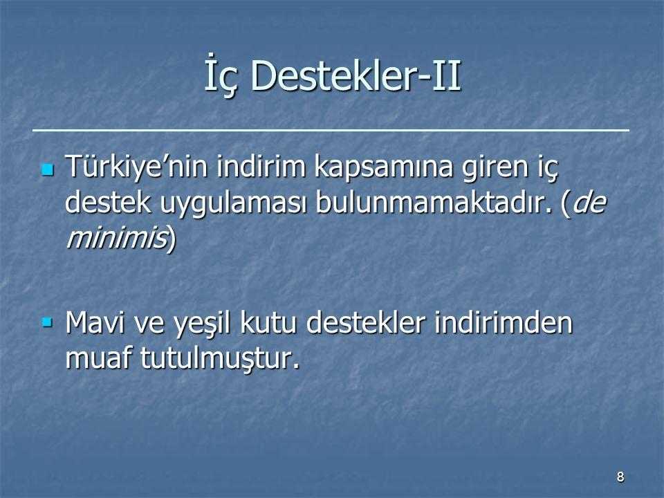8 İç Destekler-II Türkiye'nin indirim kapsamına giren iç destek uygulaması bulunmamaktadır.