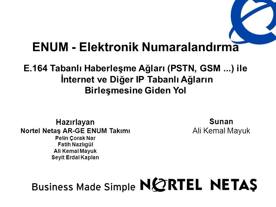 ENUM - Elektronik Numaralandırma E.164 Tabanlı Haberleşme Ağları (PSTN, GSM...) ile İnternet ve Diğer IP Tabanlı Ağların Birleşmesine Giden Yol Sunan