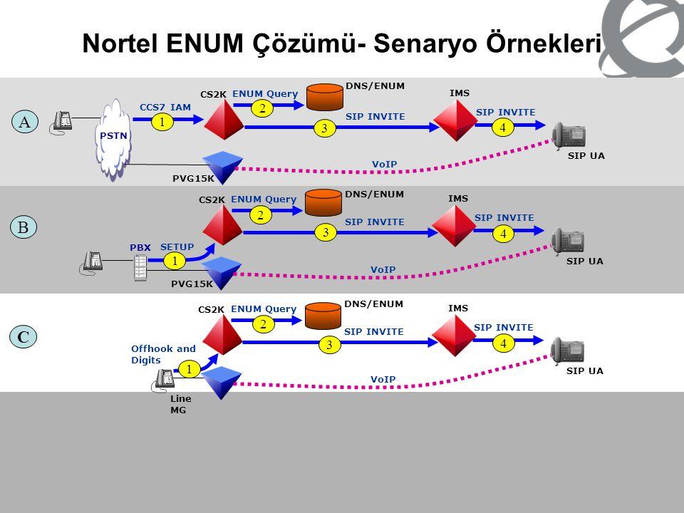 Nortel ENUM Çözümü- Senaryo Örnekleri CS2K PSTN DNS/ENUM IMS SIP UA SIP INVITE CCS7 IAM A PVG15K ENUM Query SIP INVITE VoIP CS2K PBX IMS SIP UA SIP IN