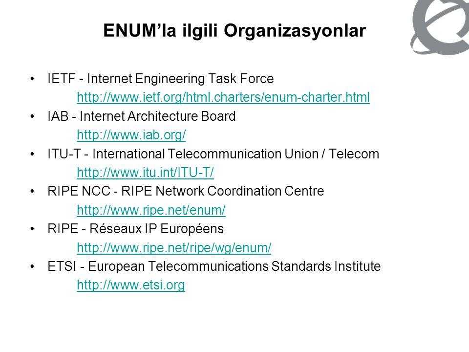 ENUM'la ilgili Organizasyonlar IETF - Internet Engineering Task Force http://www.ietf.org/html.charters/enum-charter.html IAB - Internet Architecture