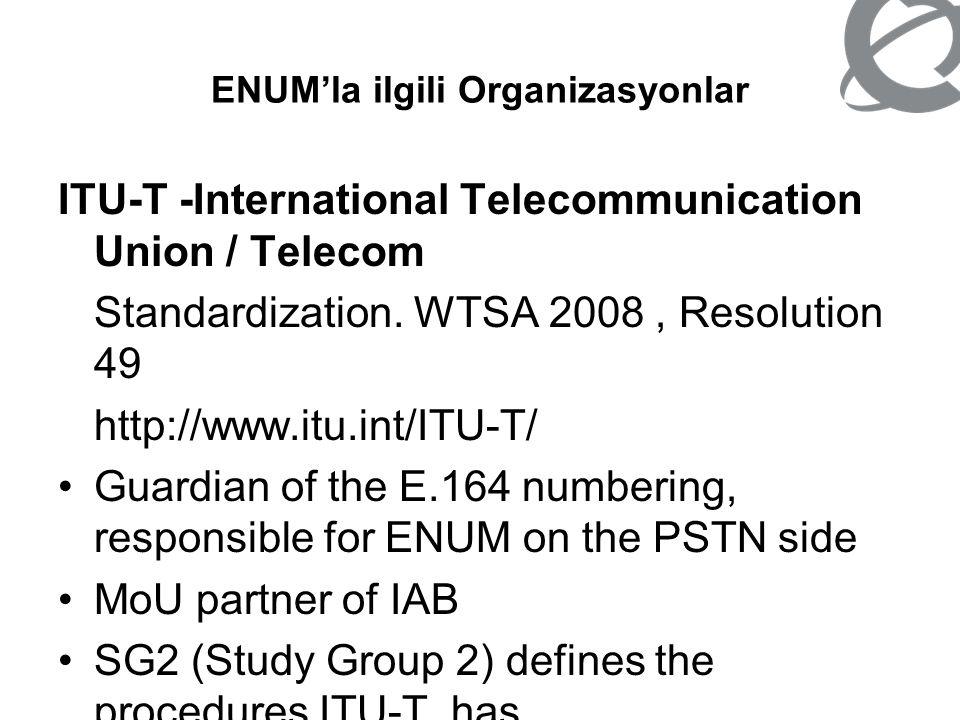 ENUM'la ilgili Organizasyonlar ITU-T -International Telecommunication Union / Telecom Standardization. WTSA 2008, Resolution 49 http://www.itu.int/ITU